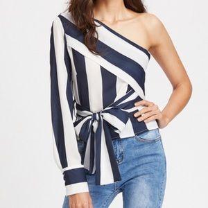 One shoulder striped blouse